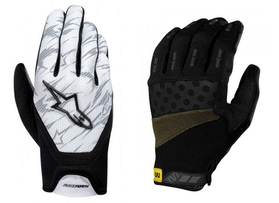 Alpinestars Aero gloves and Mavic Single Track gloves