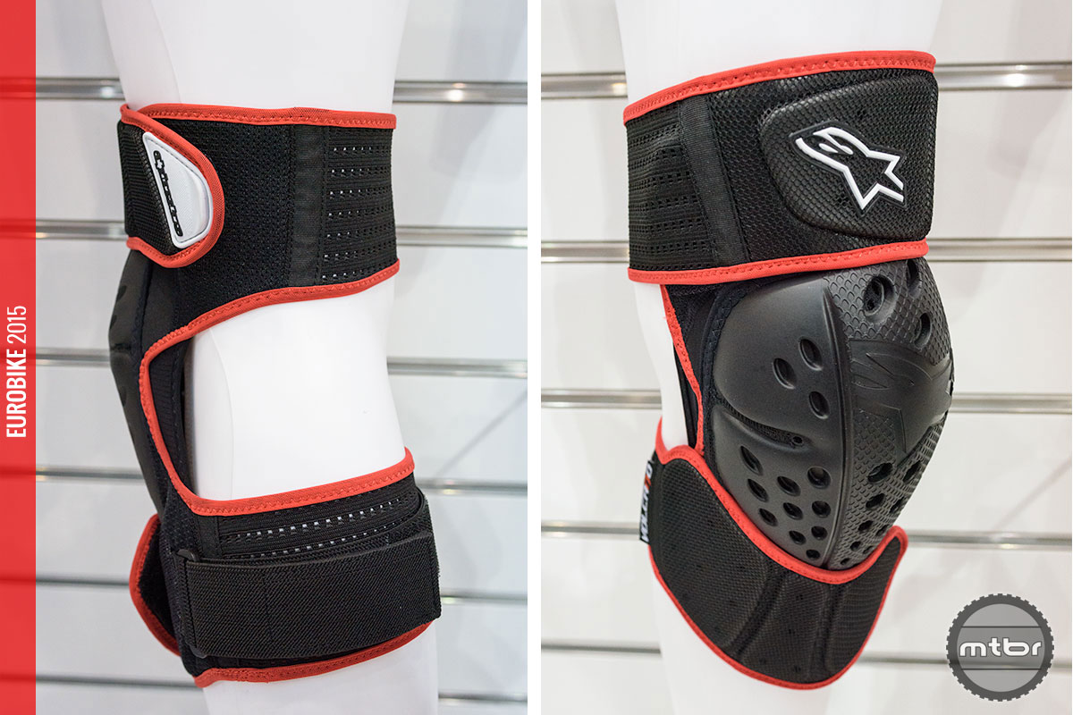 The lightweight Volcano knee guard with velcro straps (170g per piece).
