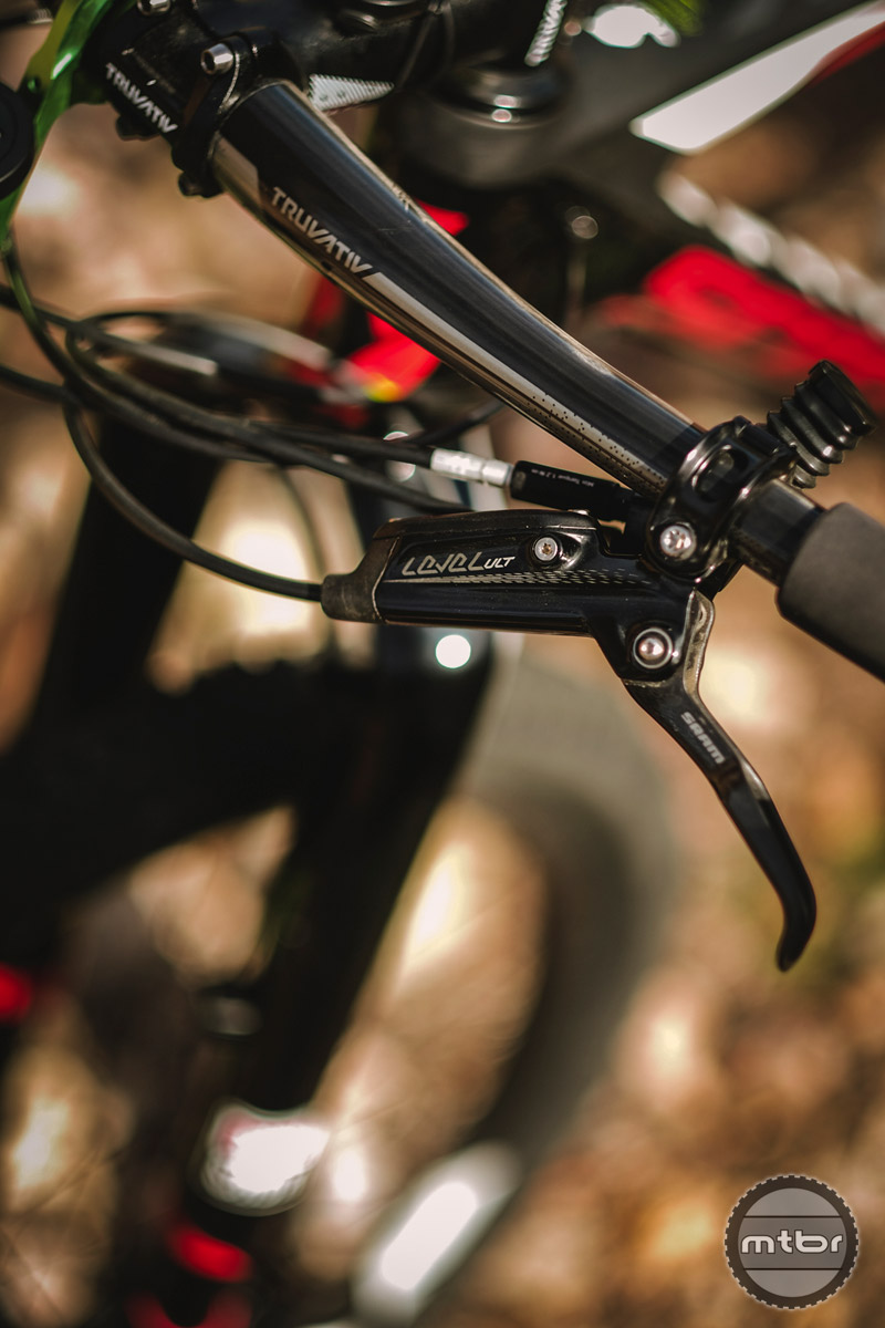 At the top is the Level Ultimate, which features a carbon lever and blade, titanium hardware, alloy backed pads to help reduce weight, and lever pivot bearings for improved feel.