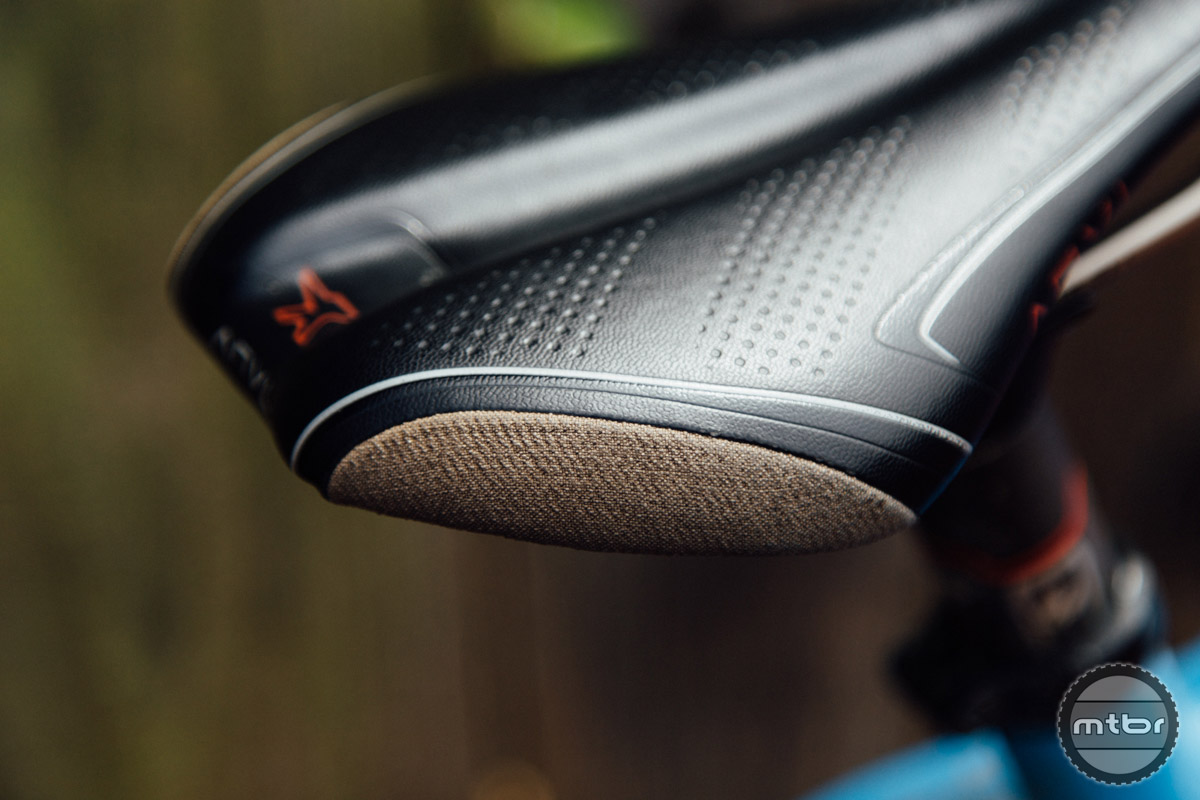 Kevlar patches on the corners of the saddle help to prevent wear and tear from crashing, etc...