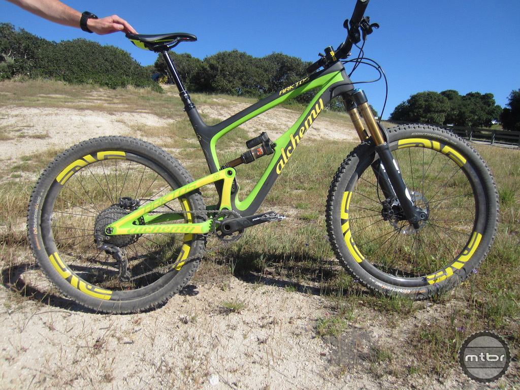 The Alchemy Arktos is a 150mm, 27.5-inch wheel carbon fiber trail bike handmade in the U.S.A.