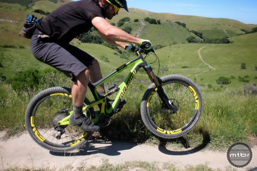 This is a bike that shines in steeper terrain and encourages the rider to let off the brakes and send it. The faster you go, the better the Arktos handles.