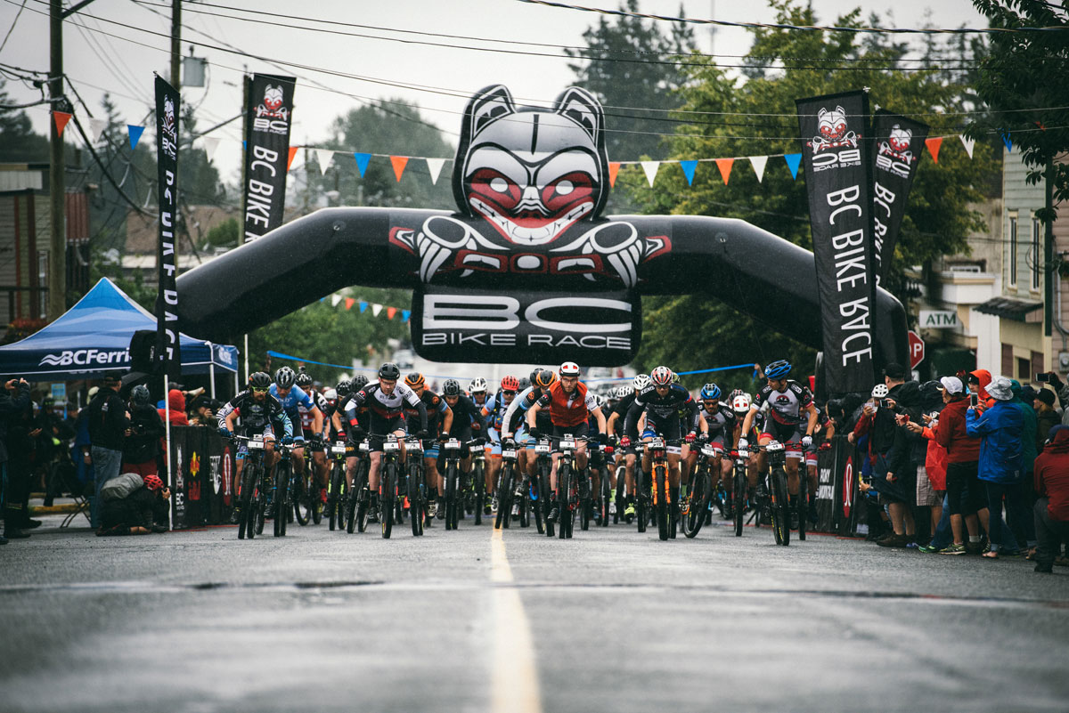 And they are off for the 10th running of the BC Bike Race. Photo by Margus Riga