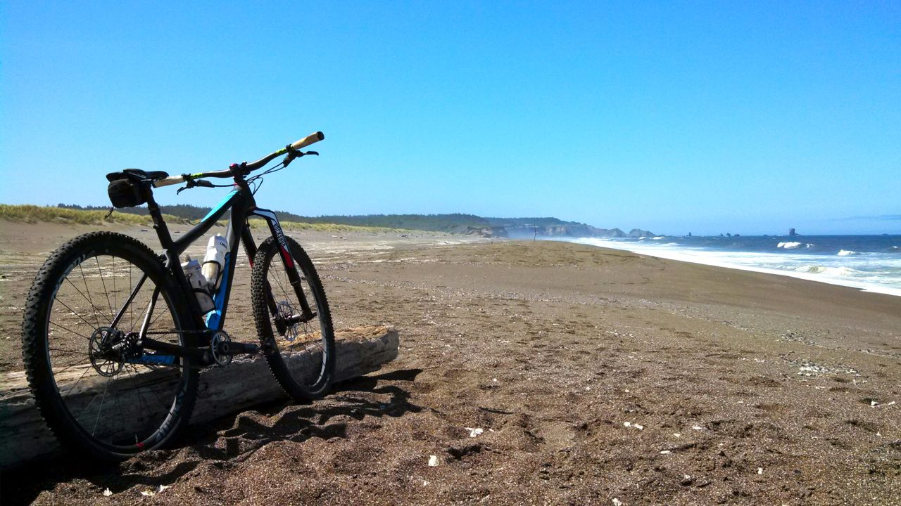 The beach along Floras Lake State Natural Area is perfect for fat biking.