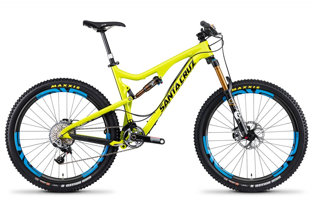 Santa Cruz Bronson Carbon Yellow with Blue Enve wheels