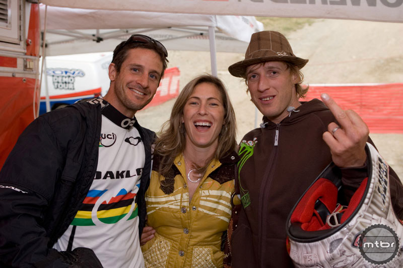 Brian hanging out with his buddies Leigh Donovan and Steve Peat.