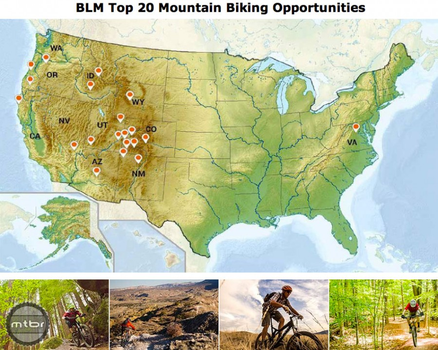 Most of the land the BLM manages is in the western U.S., which is why most of the featured trails on the MTB portal of its website are there as well.