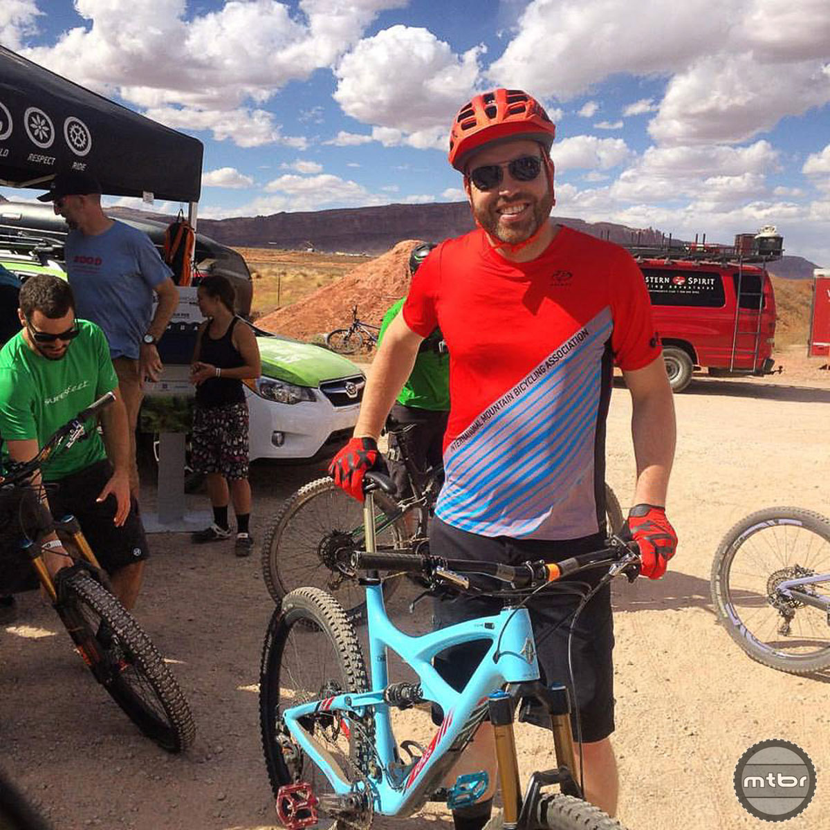 BLM director Neil Kornze was on hand to unveil his agency's new mountain bike-specific web portal. But before he addressed the Outerbike audience, he addressed his own need to shred aboard an Ibis Mojo HD 3.
