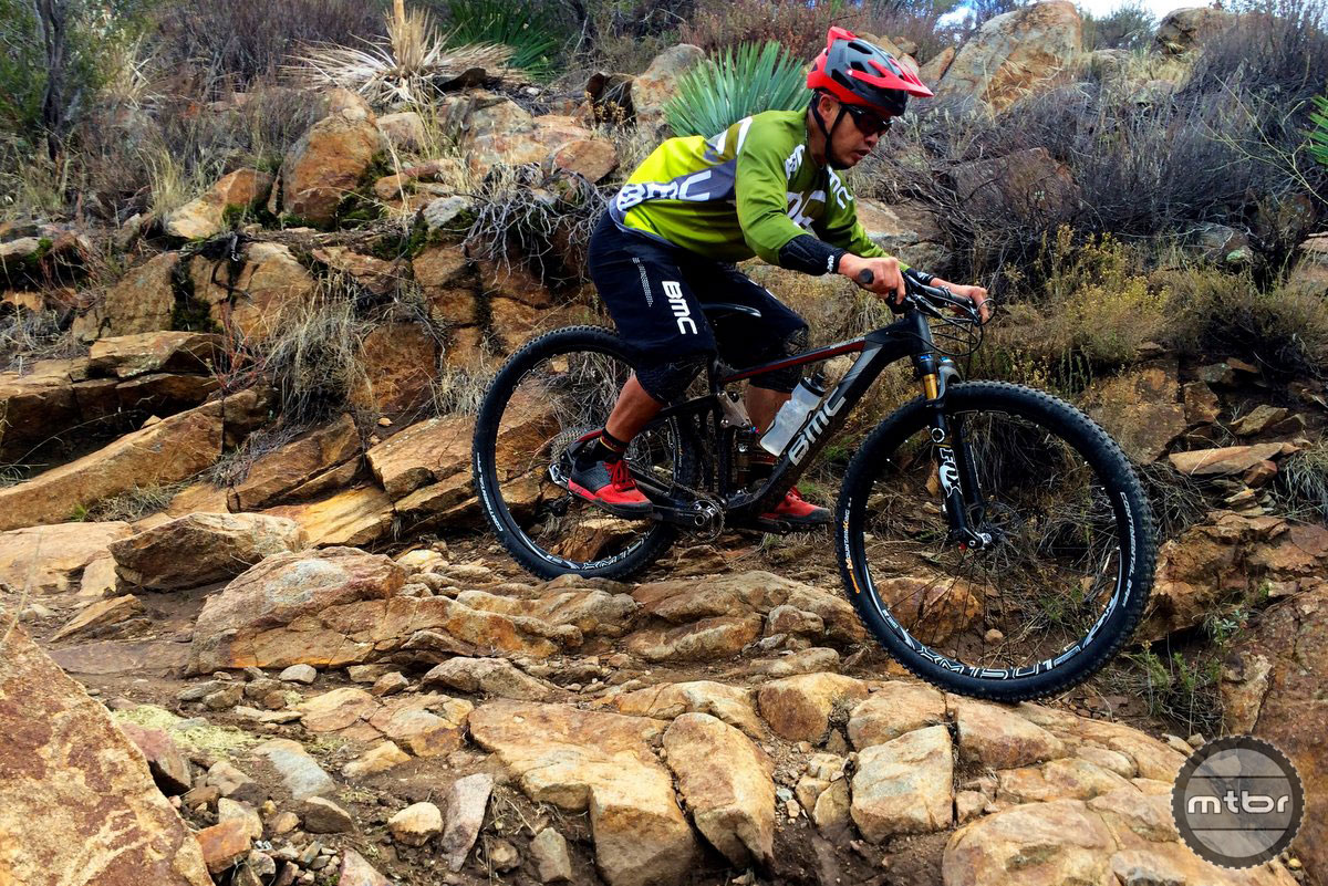 BMC Speedfox on the rock staircase of Noble Canyon Trail.