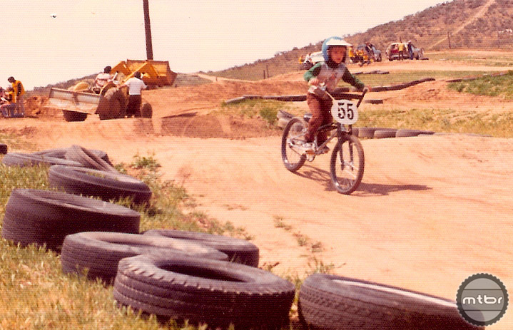 A young Brian Lopes sporting his #55 plate on his BMX race bike.
