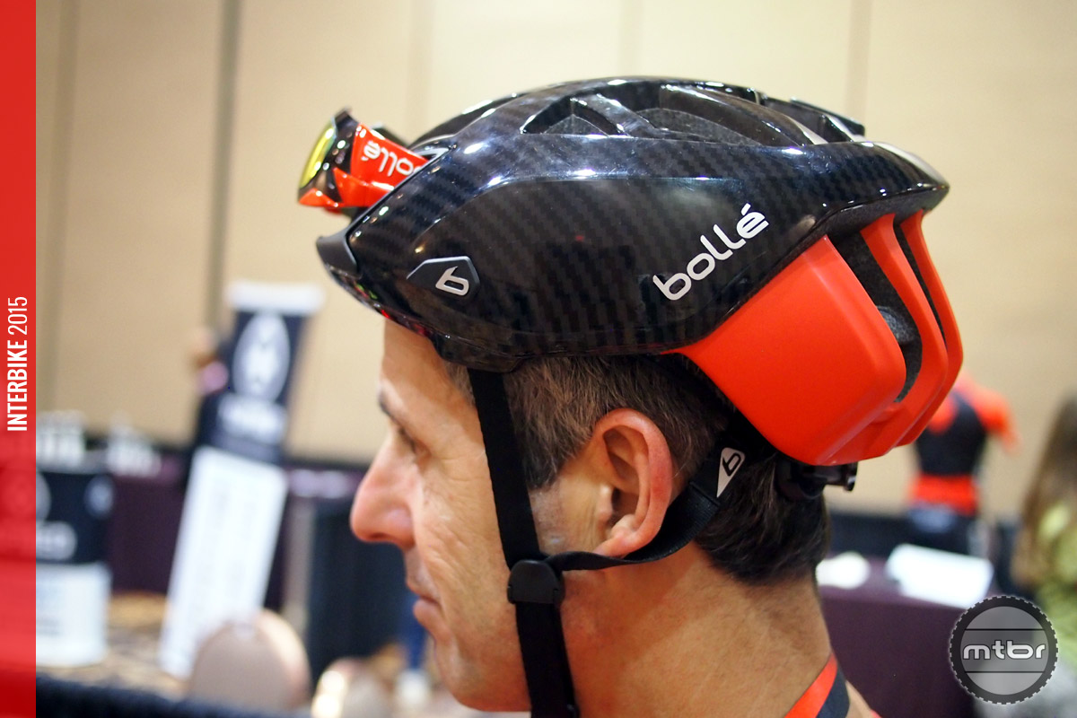 The One helmet on a rider's head. Plenty of range of vision (no overhang) up front.
