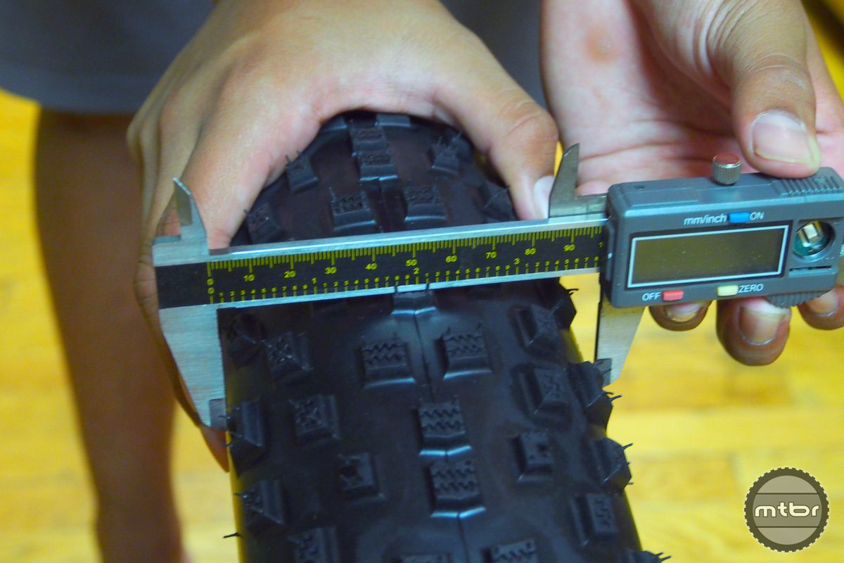 Width of the tire is about 100 mm when inflated. (3.9 inches).