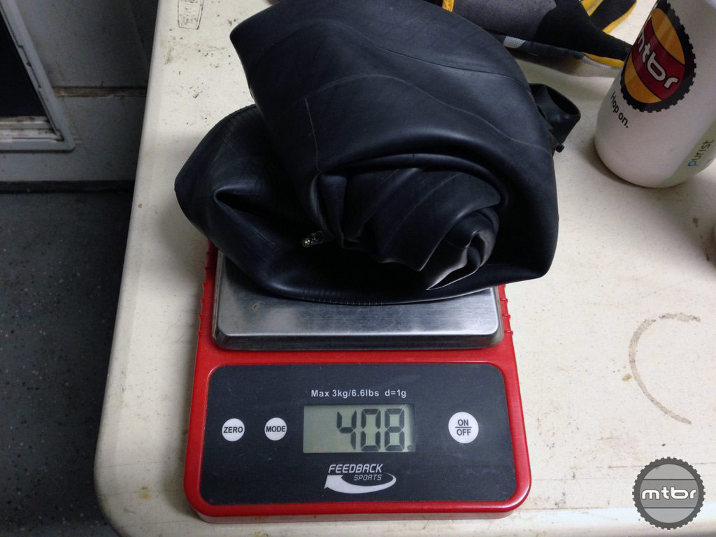 Weight of a typical fat bike tube is 408 grams.