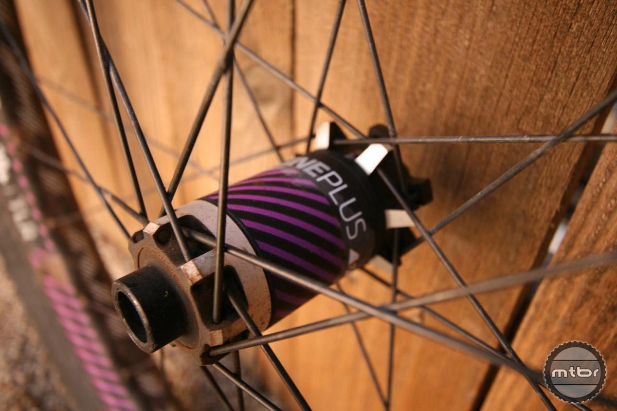 Nail head, 28-hole spoke design provides durability and stiffness.