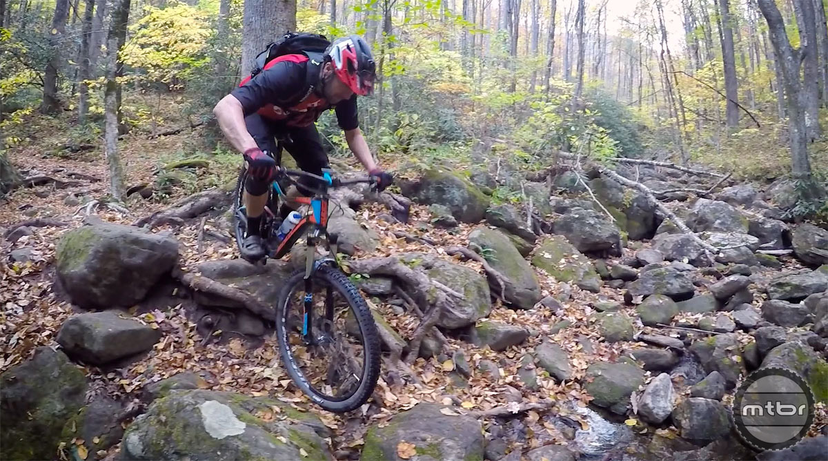 Lenosky taking on the tough and technical trails in Pisgah National Forest.