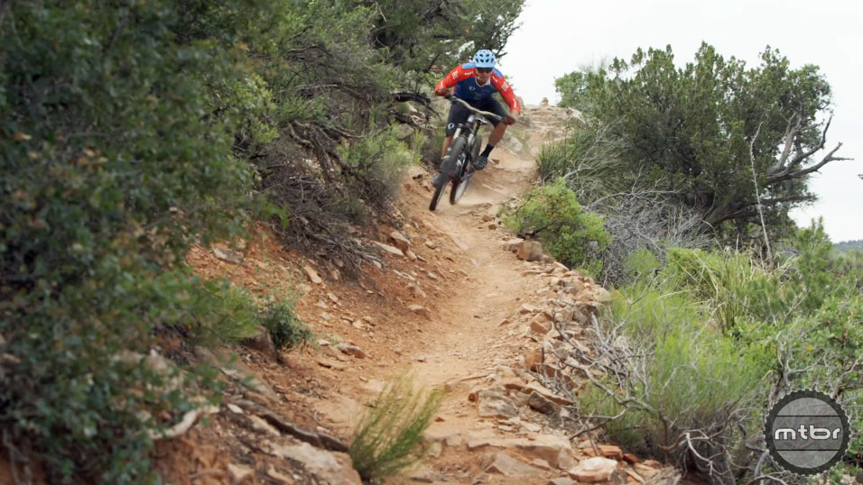 Brian Lopes attacking the trails of Sedona Arizona at the 11th Annual Magura Riders Camp.