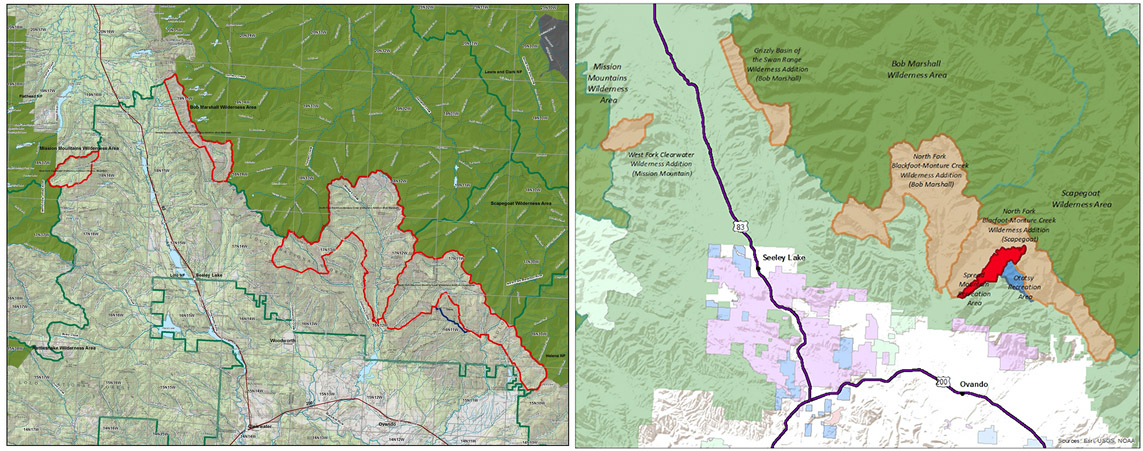 The map shows boundaries before and after agreements, with a new companion National Recreation Area.