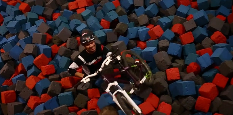 Tippie and Carter ride Rays - foam pit