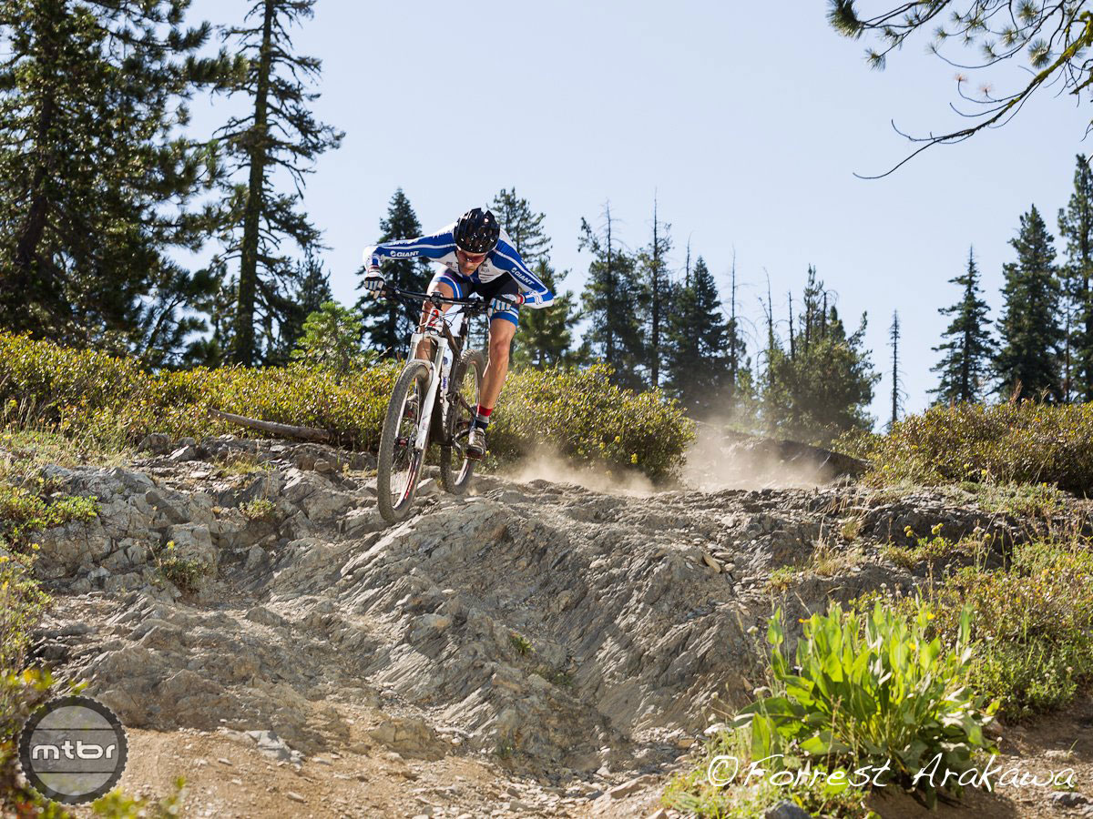 Downieville Classic racer goes through the rock section of Butcher Ranch Trail.