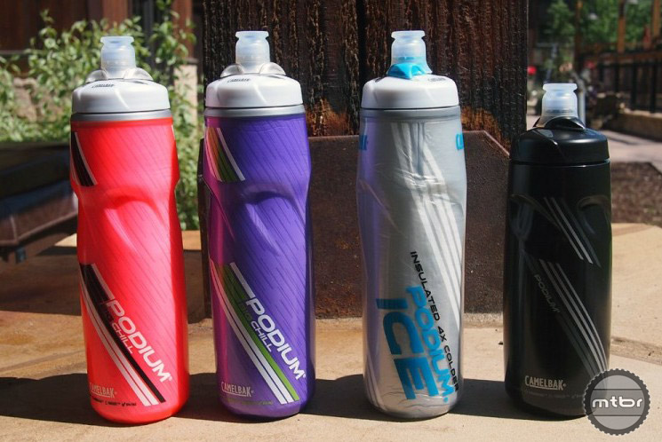 Podium bottles in different sizes and colors.