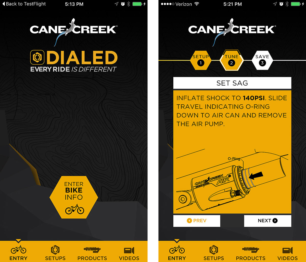 To set up a bike, DIALED connects to the Cane Creek suspension database of over 6000 full-suspension mountain bikes and accesses shock configuration and custom base tune settings.