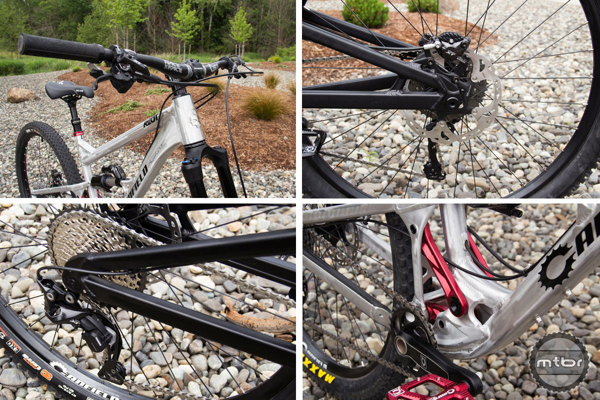 Complete bike builds will come spec'd with parts from Shimano, RaceFace, Maxxis, and others.
