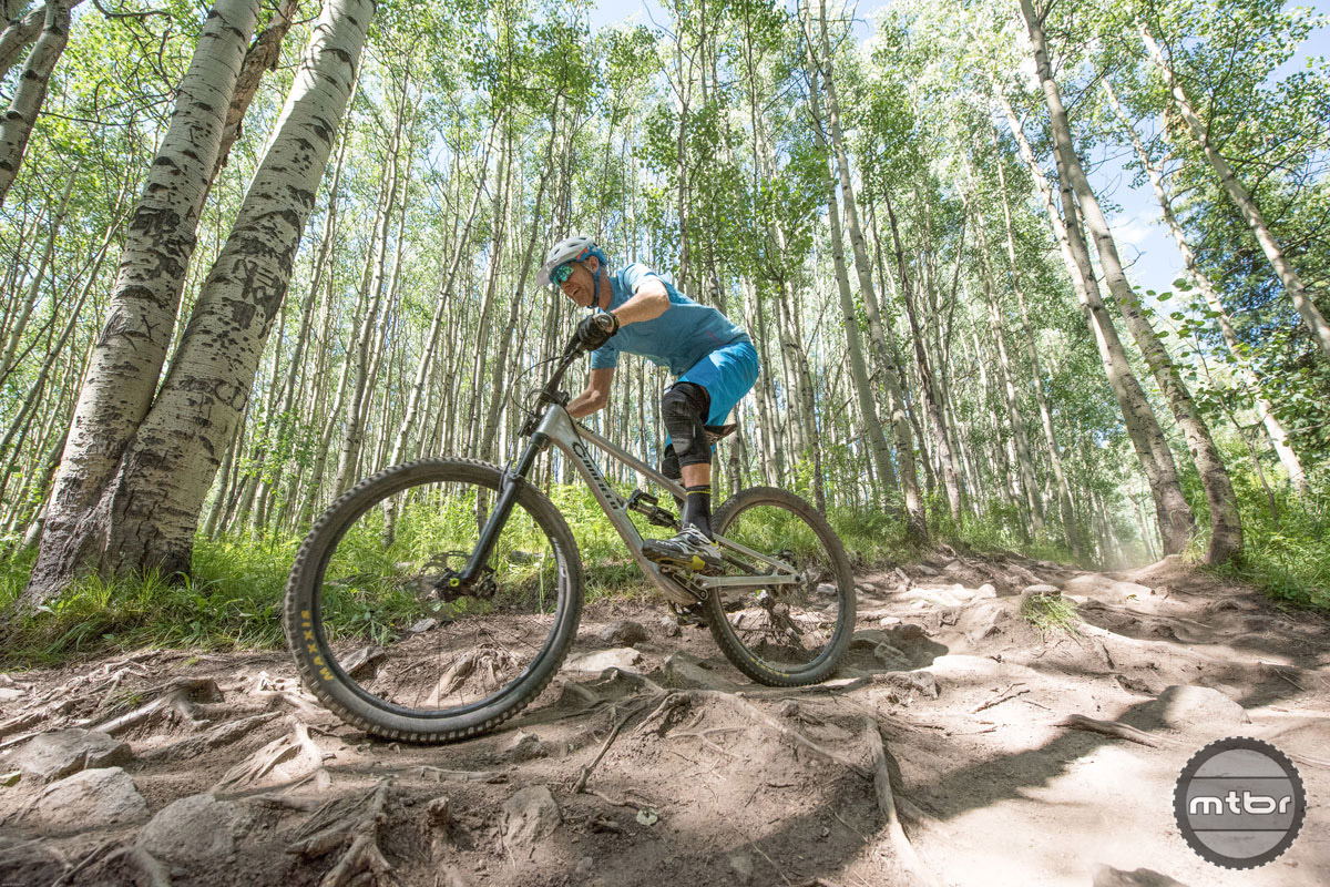 Though it excelled in all manner of terrain, the Riot was most at home in rough and rowdy, such as this section of the Avery Trail at Crested Butte's Evolution Bike Park. Photo by Dave Kozlowski