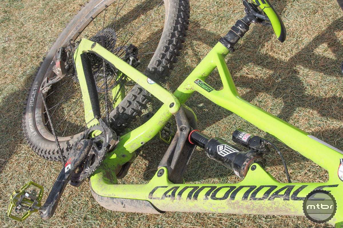 The guess here is that Cannondale is stepping away from the adjustable pull-shock design, but the single-pivot with rocker link set-up remains. You'll also notice that this frame actually has mounts for a bottle cage on the seat tube behind the rocker link. Given the current trend in bike design, we're guessing it's also slacker and longer than the previous iteration.