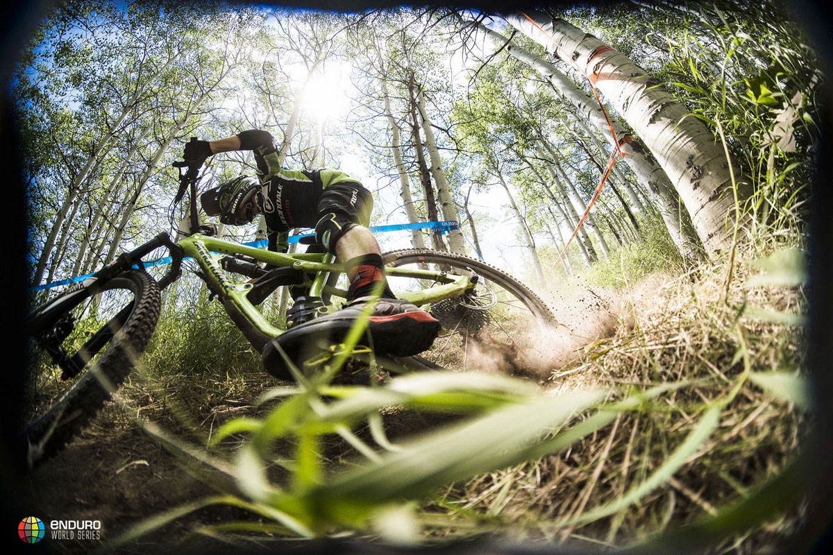 The first versions of the rocker link appeared to be alloy, but that's since changed Photo courtesy Enduro World Series
