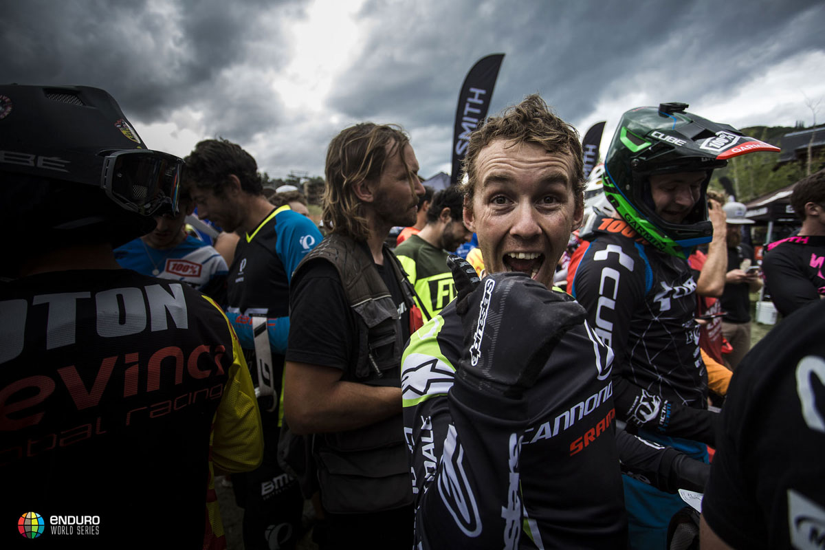 The 2013 Enduro World Series champ was ready to party at the end of the weekend in Colorado. Photo courtesy Enduro World Series