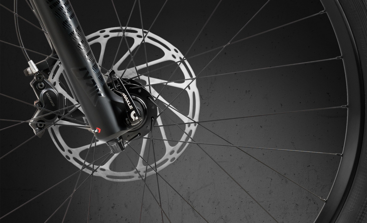 Huge 200mm rotors are on both wheels on all bikes.