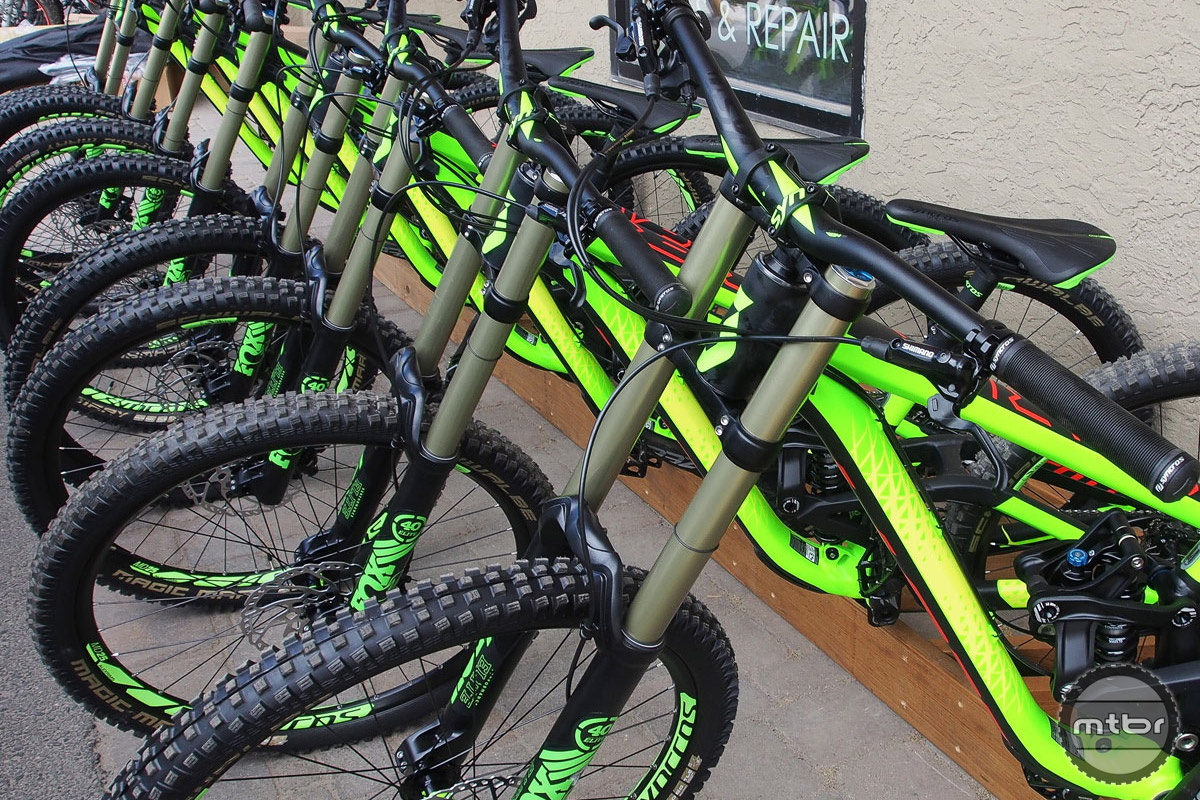 Scott Gambler downhill bikes ready to shred the Evolution Bike Park.