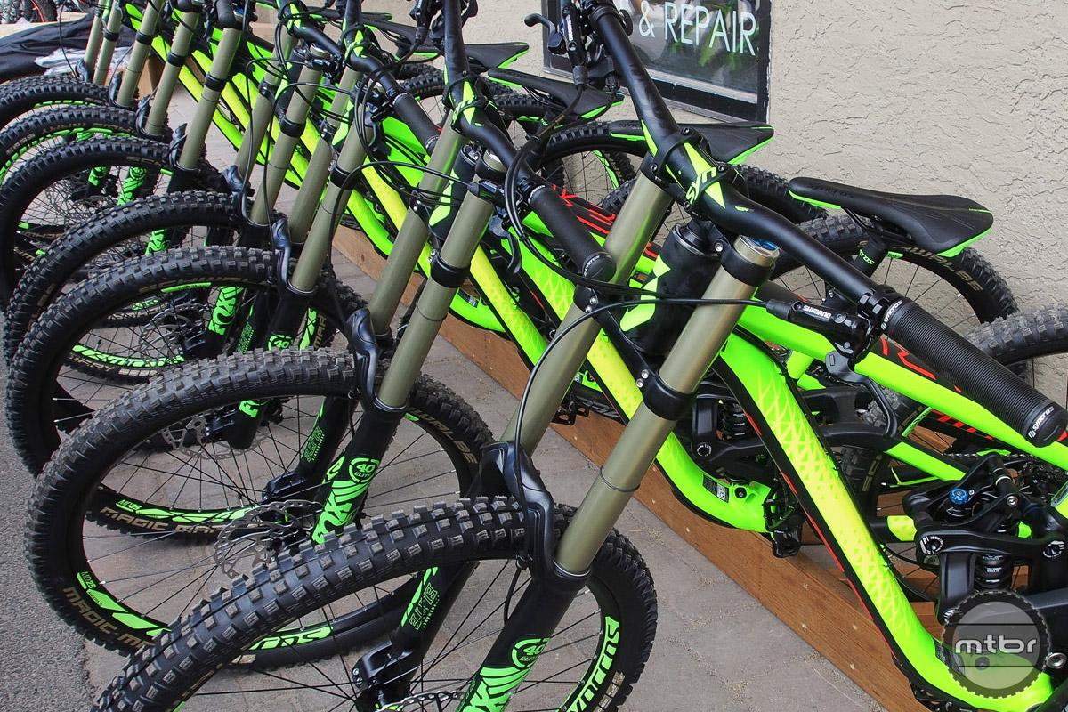 Scott Gambler downhill bikes ready to shred the Evolution Bike Park.