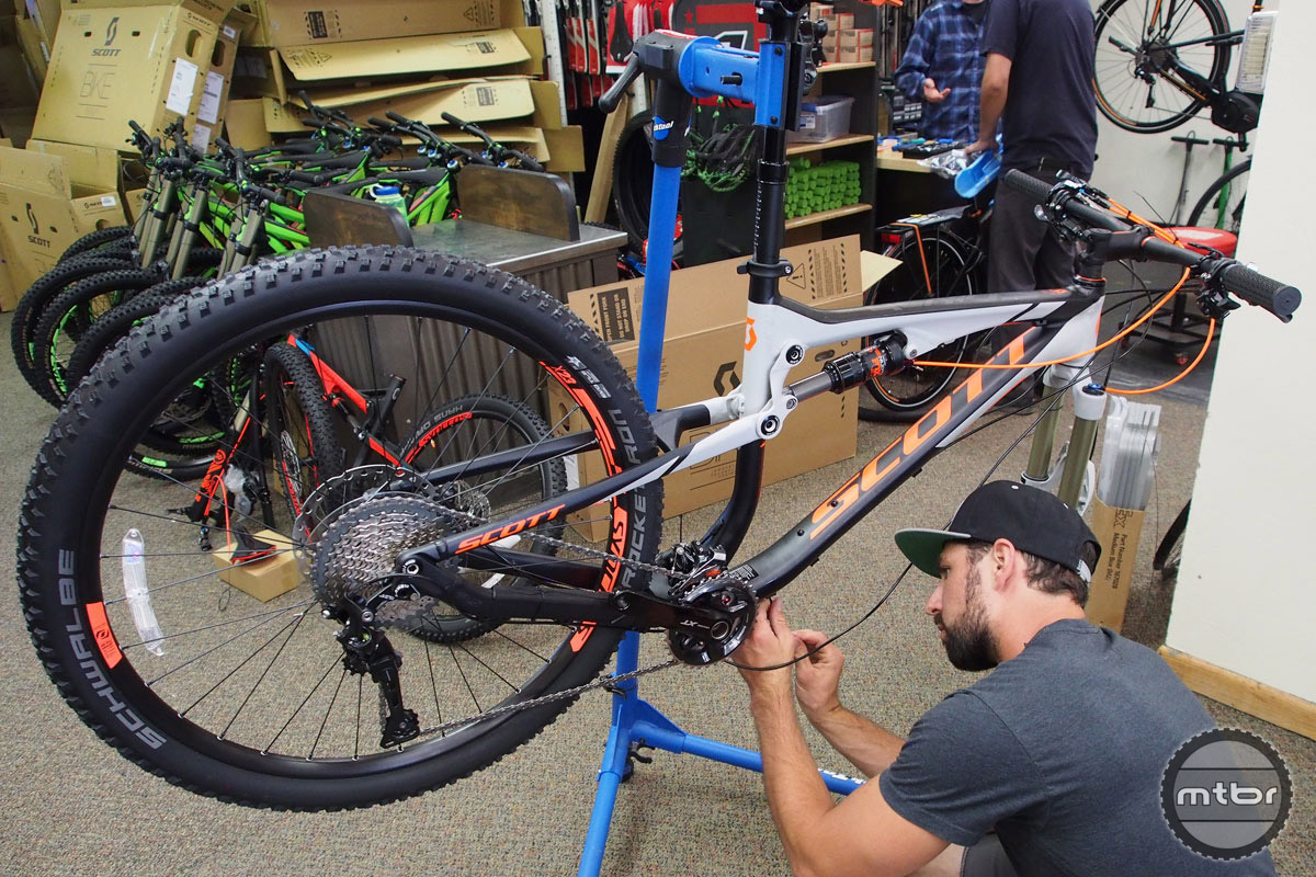 The crew from Scott Bikes descended on Crested Butte to build up 70 new bikes for the CBMR rental fleet.