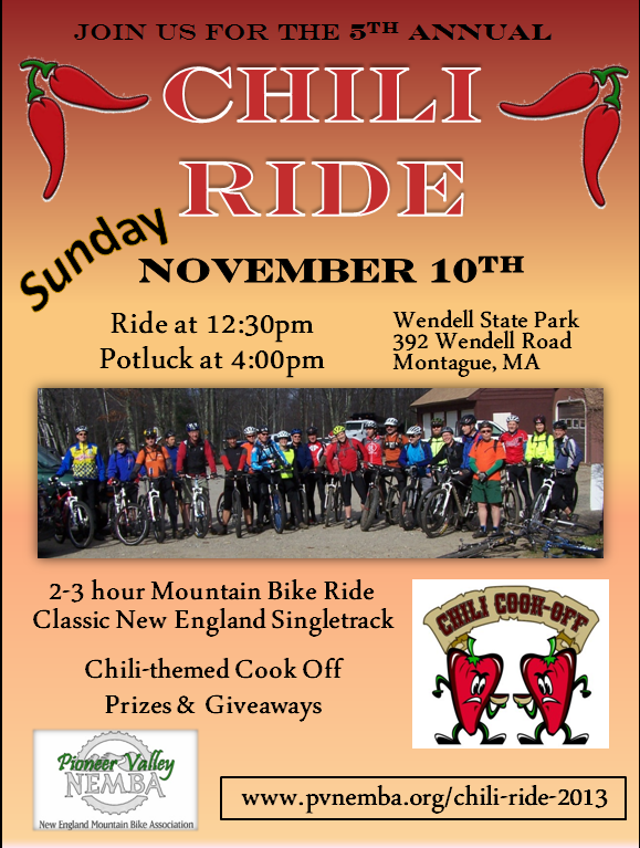5th annual Chili Ride Sunday, November 10th (Western MA)!! Road Trip Time!-chili_ride_2013_flier.png