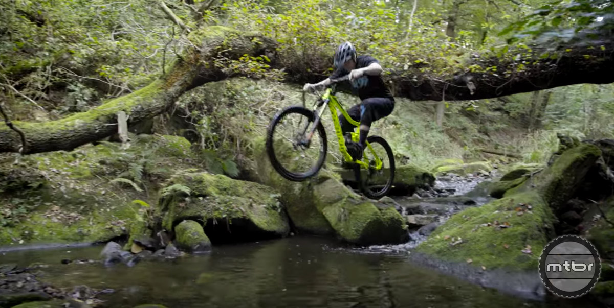 Chris Akrigg takes his trials skills to the trails, except in this case, the trail is a field of boulders.