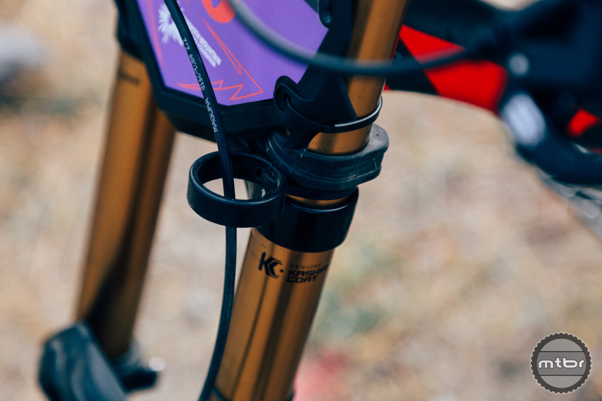 Our favorite custom touch on the Karver's M16? This little catch for the front brake line. Those who ride dirt bikes regularly will be familiar with the trick.
