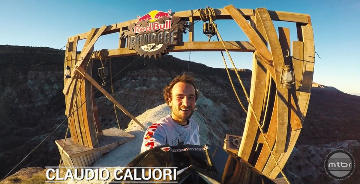 Claudio Caluori gets ready to ride the Red Bull Rampage course in Virgin, Utah.