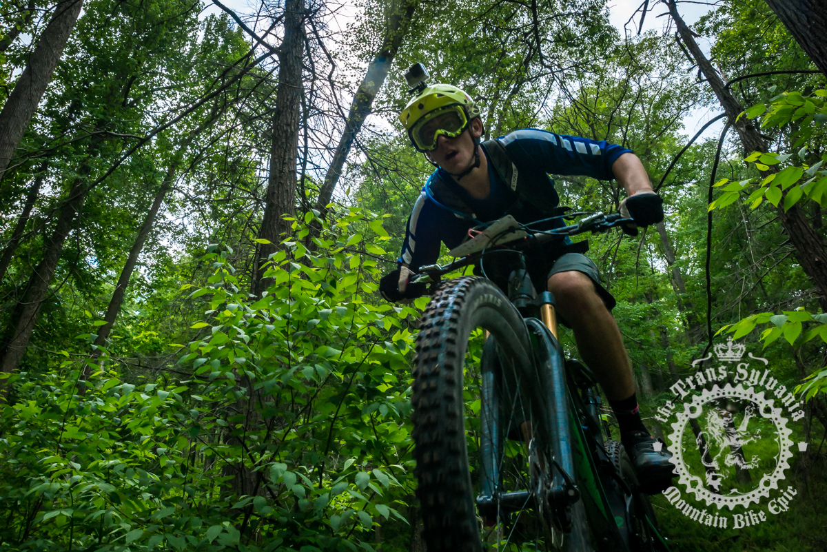 Cody Phillips rides through the Three Bridges area on the fifth timed segment. Photo by Harris Dunlap and A.E. Landes of the Trans-Sylvania Epic Media Team