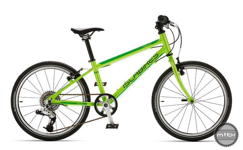 The Islabikes Beinn 20 L in bright green.