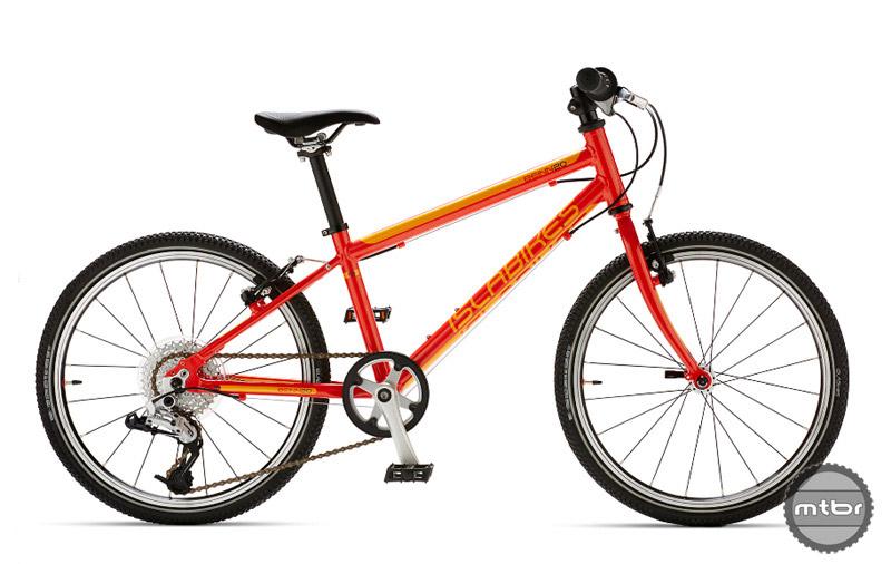 The Islabikes Beinn 20 L in orangey-red.