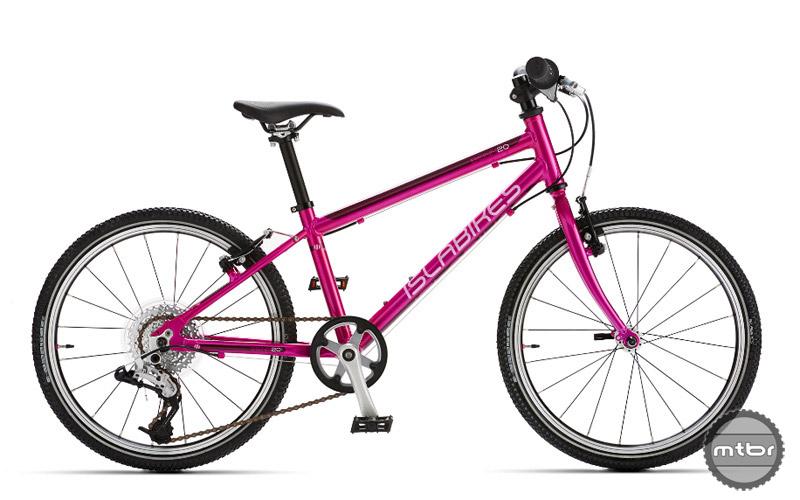 The Islabikes Beinn 20 L in purplish pink.