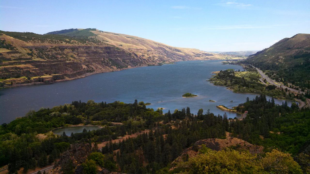 The Columbia River is more than a mile wide in spots with mountains rising as much as 2,000 vertical feet on either side.