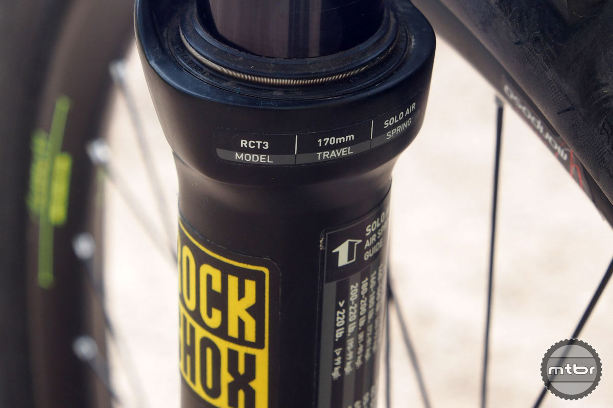 Front suspension is provided by a 170mm RockShox Lyric. She typically uses a pair of bottomless tokens and sets the pressure to about 60 psi.