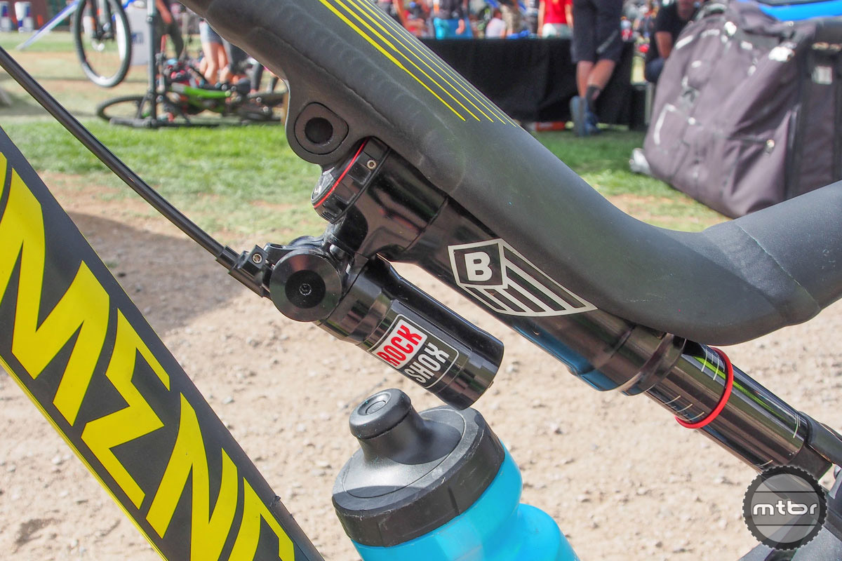 Rear suspension is also courtesy of RockShox, including a remote lock-out for climbing.