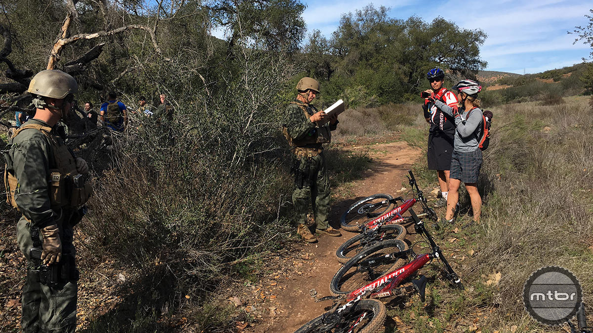 Marines ticket riders and confiscate their mountain bikes.
