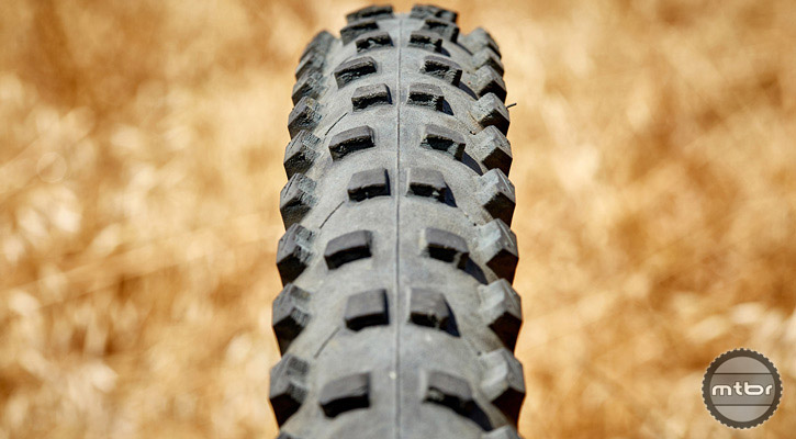This tire's tread pattern falls somewhere between a mud spike and an aggressive all mountain tire. Photo courtesy of Art's Cyclery