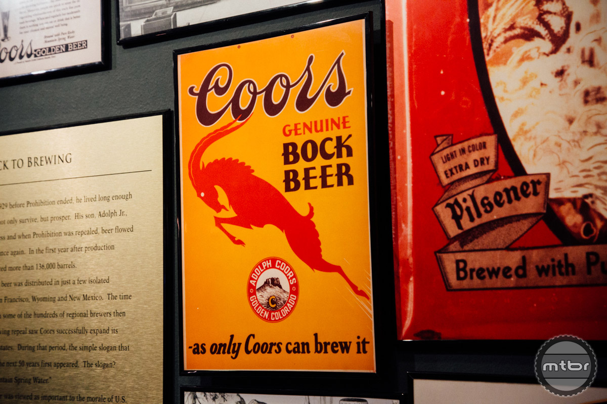 Vintage ads and memorabilia lines the walls of this room.