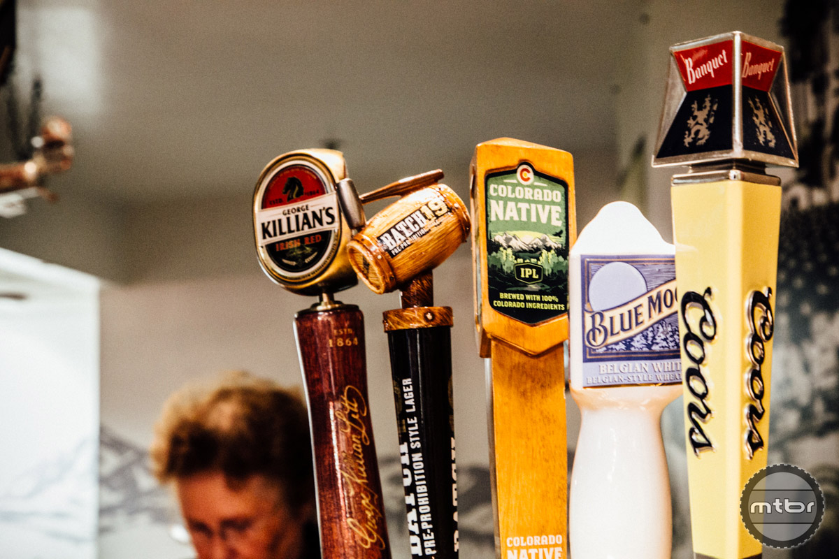 A small sampling of all various beers on tap at the Coors Tasting Room.