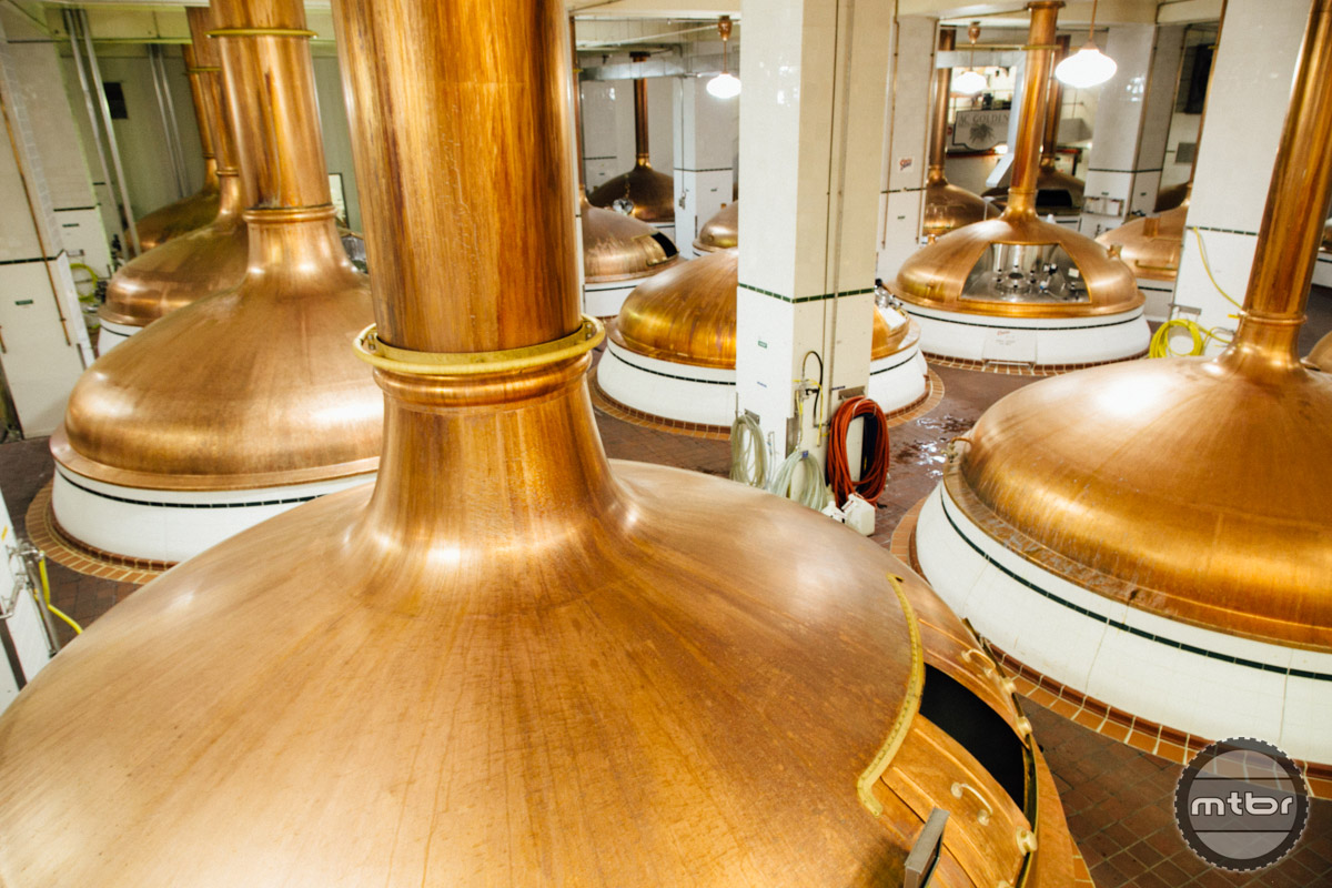 Each of these oversized kettles holds 19,000 gallons, or ~200,000 12 oz bottles!
